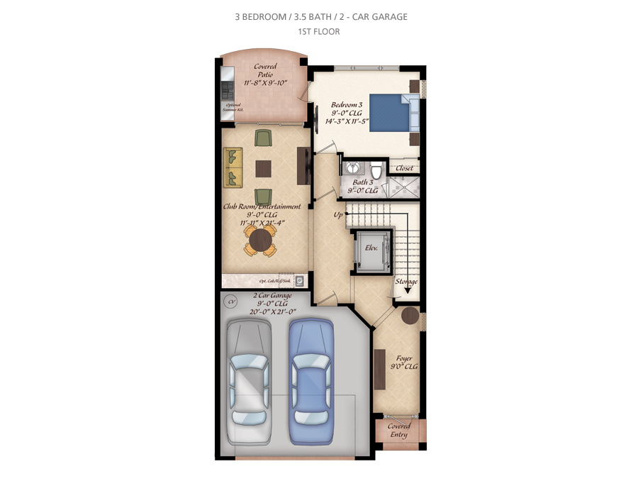 3 bedroom townhomes jupiter fl 3 bedroom floorplans for Luxury townhome floor plans